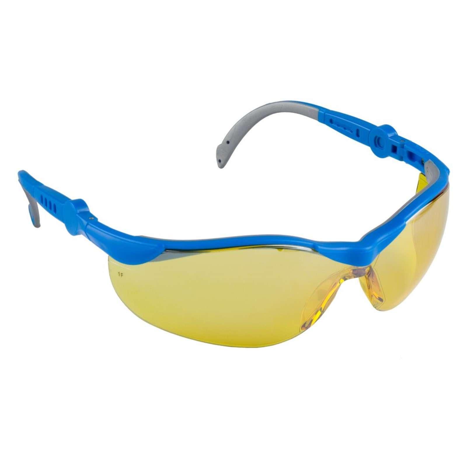 """Очки ЗУБР """"ЭКСПЕРТ"""" защитные, желтые, поликарбонатная монолинза с двухкомпонентными регулируемыми дужками"""