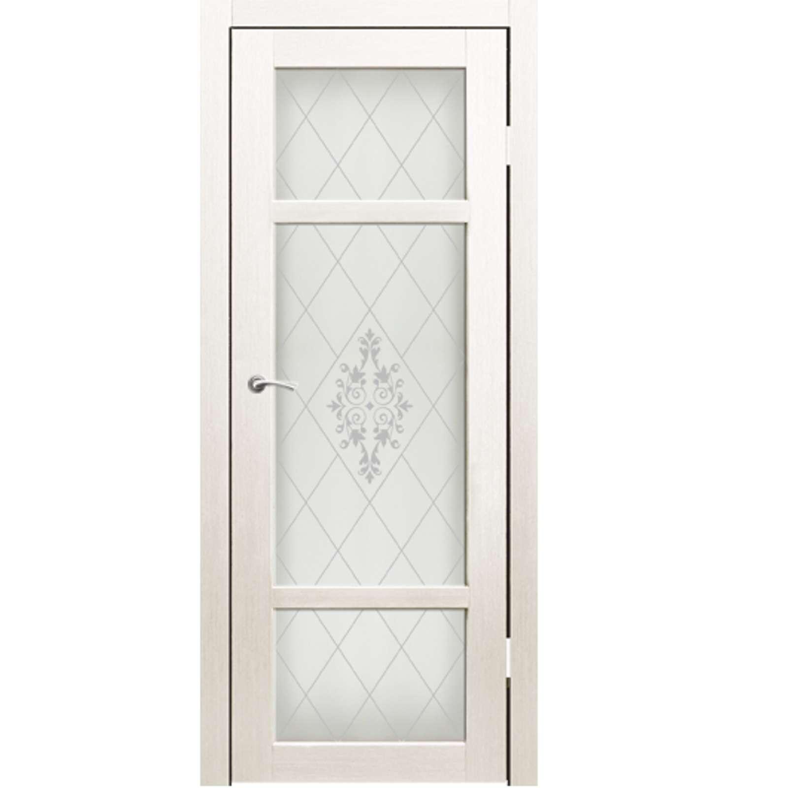 Полотно дверное остекленное Кьянти пескоструй №24 СИНЕРЖИ ясень белый ПВХ, ПДО 700х2000мм
