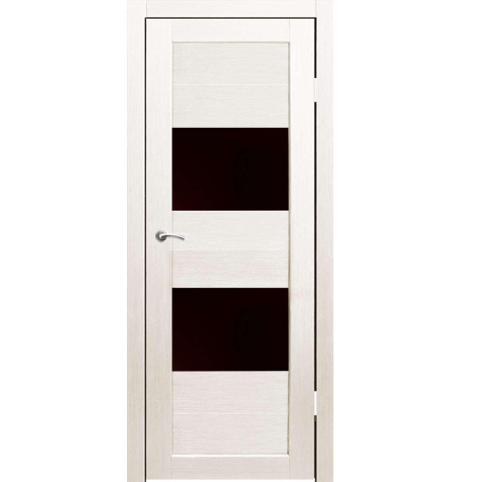 Полотно дверное остекленное Форте (черное стекло) СИНЕРЖИ дуб молочный ПВХ, ПДО 700х2000мм