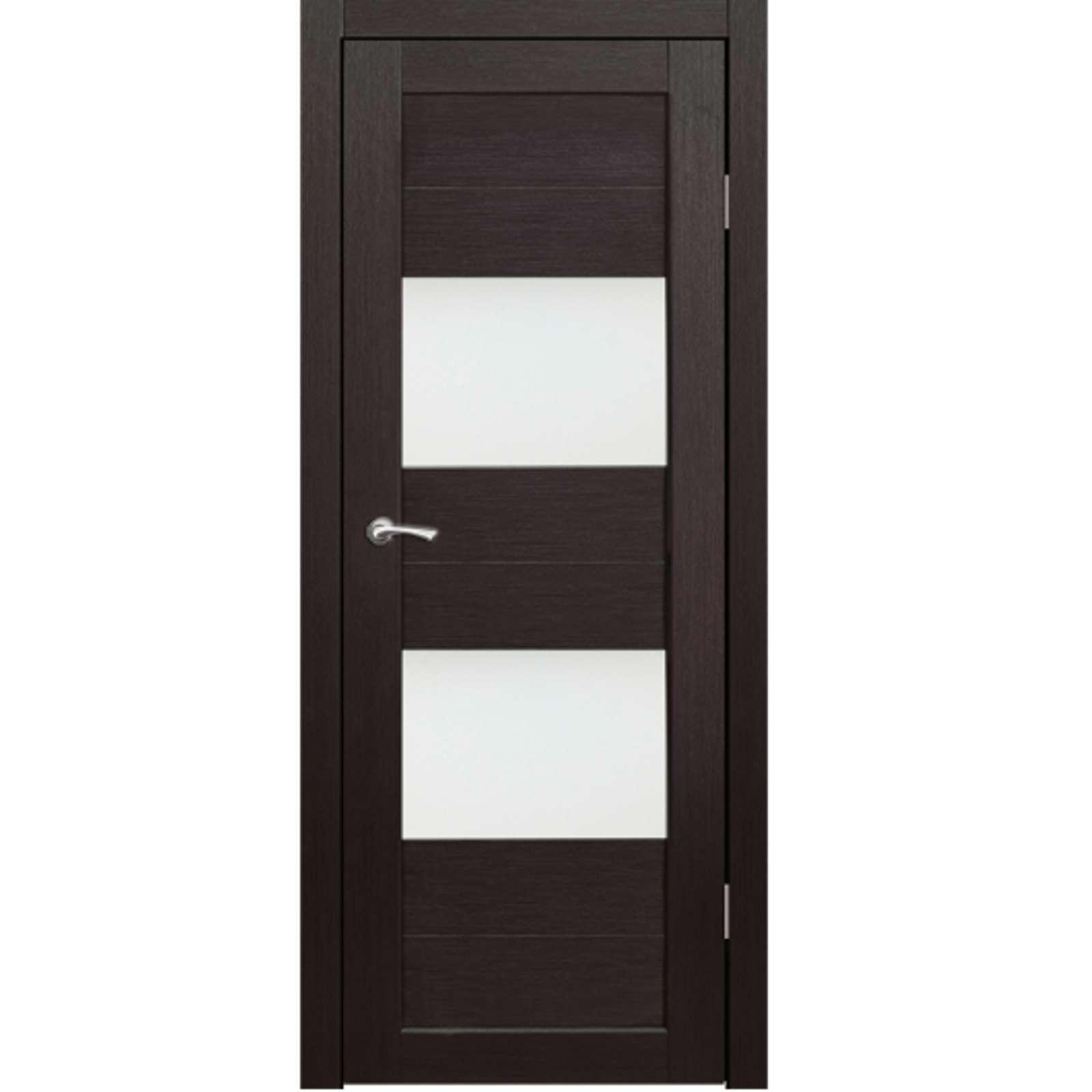 Полотно дверное остекленное Форте (черное стекло) СИНЕРЖИ венге ПВХ, ПДО 750х1750 мм НЕСТАНДАРТ