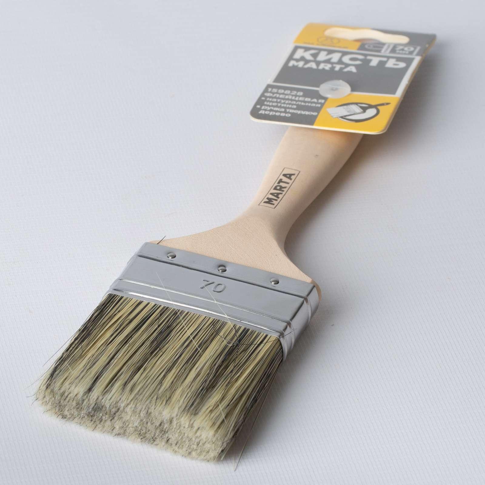 Кисть флейцевая Marta, черная ручка твердое дерево, 70 мм