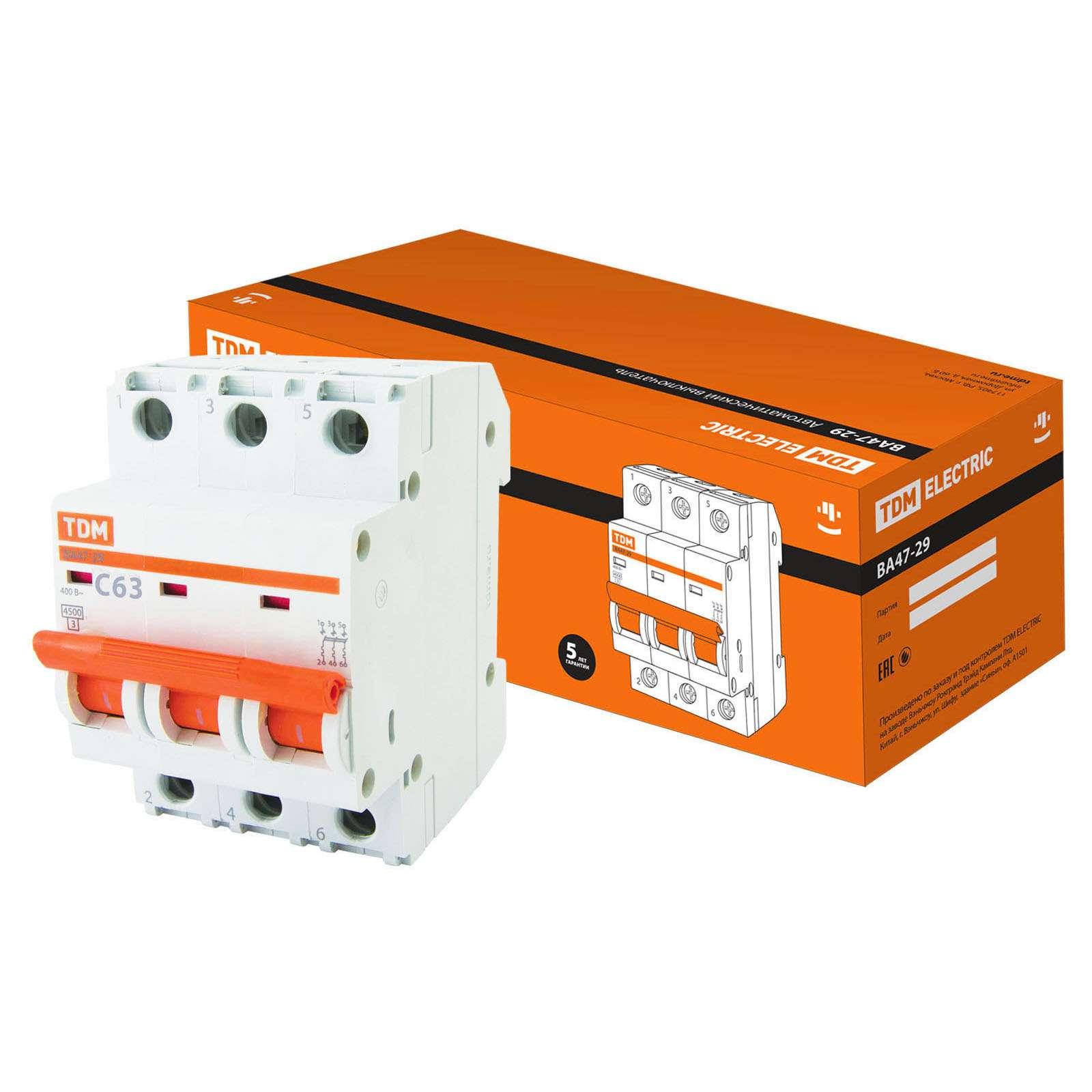 Автоматический выключатель ВА47-29 3Р 63А 4,5кА х-ка С TDM