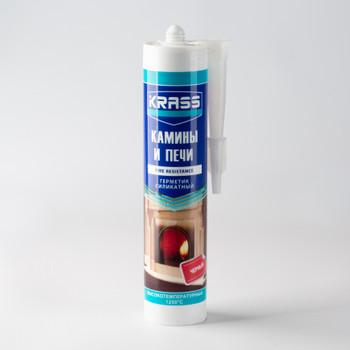 Герметик силикатный Krass для каминов и печей (черный), 300 мл