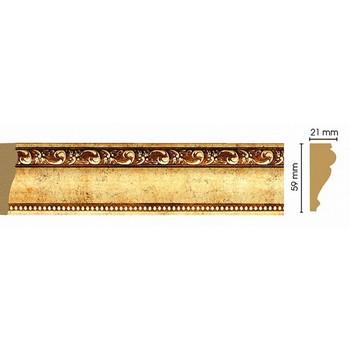 Молдинг декоративный 161-552, 59x21x2400 мм, червонное золото