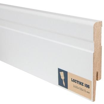 Плинтус Arbiton Loctike 106, МР1002, белый, 2420х100х15 мм.