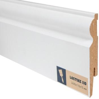 Плинтус Arbiton Loctike 110, МР1101, белый, 2420х110х15 мм.
