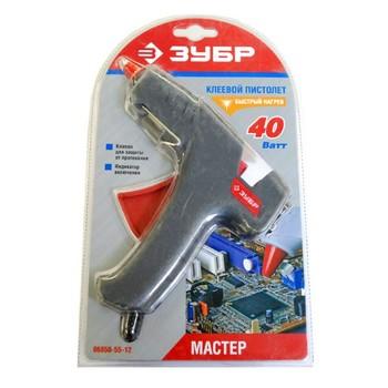 Пистолет ЗУБР термо-клеящий, электрический, 40Вт/220В, 12мм 06850-55-12