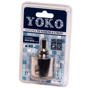 Коронка алмазная по кафелю и стеклу с центрирующим сверлом ø 45 мм Yoko