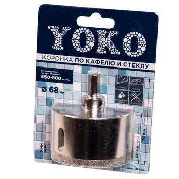 Коронка алмазная по кафелю и стеклу с центрирующим сверлом ø 68 мм Yoko