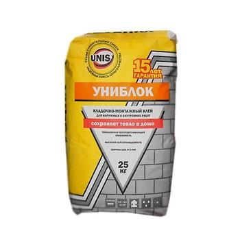Кладочная смесь Unis Униблок для блоков из ячеистого бетона, 25 кг