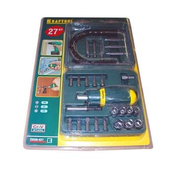 Отвертка реверс в наборе с насадками Kraftool 25556-Н27, 27 предметов