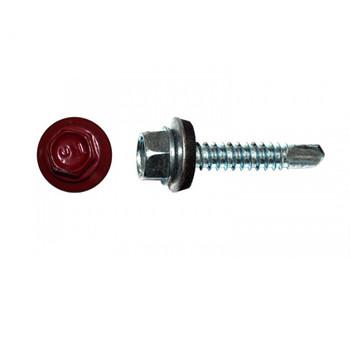 Саморез кровельный по металлу 5,5 х19 мм RAL 3003 красный рубин