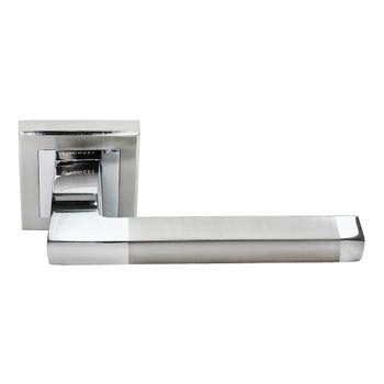 Ручка дверная RUCETTI RAP 17-S SN/CP белый никель/полированный хром. Матрица