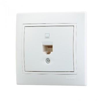 Розетка компьютерная 1-м СП Мира RJ45 бел./бел. Lezard 701-0202-139