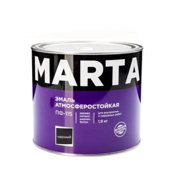 Эмаль ПФ-115 MARTA, черная, 1,9кг