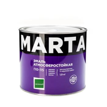 Эмаль ПФ-115 MARTA, зеленая, 1,9кг