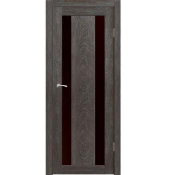 Полотно дверное остекленное Маэстро (черное стекло Лакобель) СИНЕРЖИ гранит ПВХ, ПДО 600х2000мм