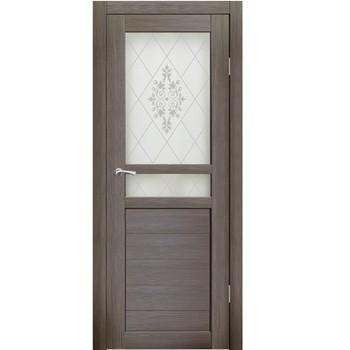 Полотно дверное остекленное Фьяно пескоструй №24 СИНЕРЖИ акация темная ПВХ, ПДО 700х2000мм
