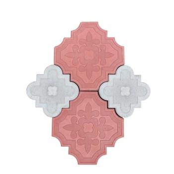 Плитка тротуарная Ромашка, комплект 295х295/215х215мм, красная+серая