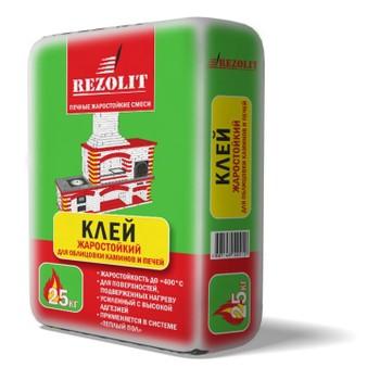 Клей жаростойкий усиленный для облицовки каминов и печей Rezolit, 25 кг