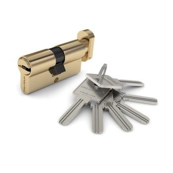 Цилиндровый механизм PALLADIUM 90 35х55 перф. ключ-вертушка латунь