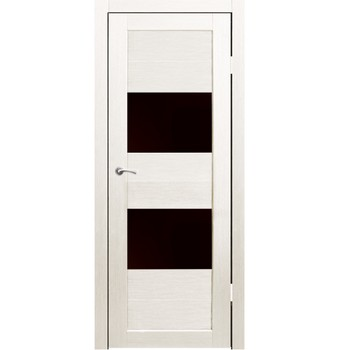 Полотно дверное остекленное Форте (черное стекло) СИНЕРЖИ дуб молочный ПВХ, ПДО 600х2000мм