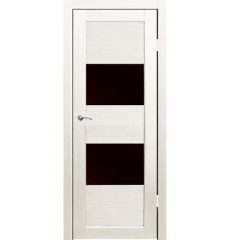 Полотно дверное остекленное Форте (черное стекло) СИНЕРЖИ дуб молочный ПВХ, ПДО 800х2000мм
