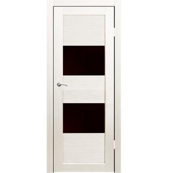 Полотно дверное остекленное Форте (черное стекло) СИНЕРЖИ дуб молочный ПВХ, ПДО 900х2000мм