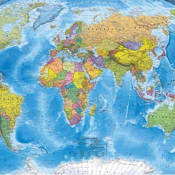 Фотообои OVK Design Е230446, 200x130 см, флизелиновая основа, Карта мира