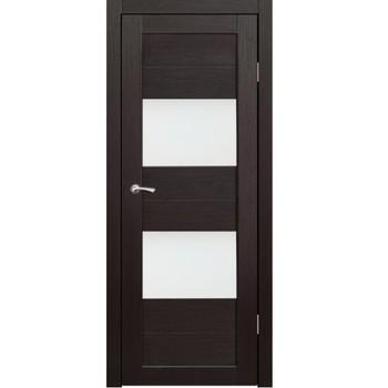 Полотно дверное остекленное Форте (черное стекло) СИНЕРЖИ венге ПВХ, ПДО 850х1800 мм НЕСТАНДАРТ