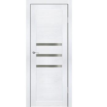 Полотно дверное остекленное Грация (черное стекло) СИНЕРЖИ ясень белый ПВХ, ПДО 600х2000мм