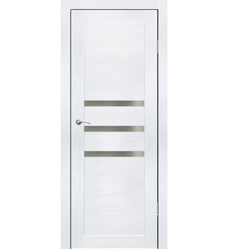 Полотно дверное остекленное Грация (черное стекло) СИНЕРЖИ ясень белый ПВХ, ПДО 900х2000мм