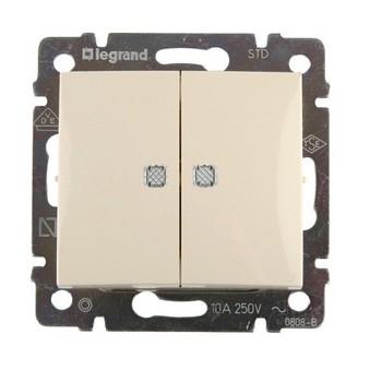 Выключатель 2-кл скрыт. Valena бежевый без рамки с подсветкой (10А, 250В) DIY Legrand 695630
