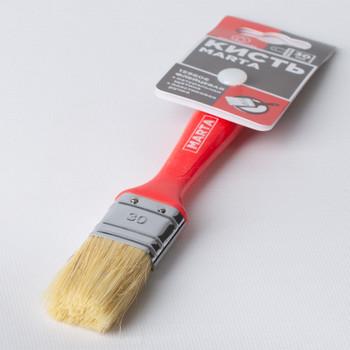 Кисть флейцевая 30 мм, натуральная щетина, пласт. ручка Профи Marta