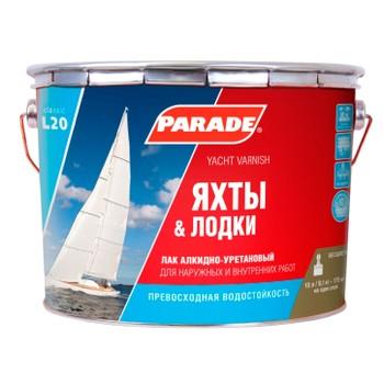 Лак яхтный алкидно-уретановый Parade L20, полуматовый, 10л