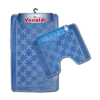 Коврик д/ванной Vonaldi Standart комплект:(55смх85см)+д/туалета синий