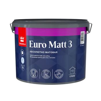 Краска Tikkurila Euro Matt 3 для гостиных и спален база С 9л
