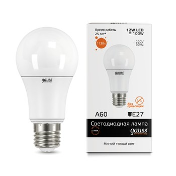 Лампа Gauss LED Elementary A60 12W E27 теплый свет 3000K