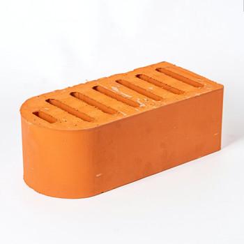Кирпич облицовочный пустотелый полуторный М-150, абрикос, фасонный полукруглый, Брылино