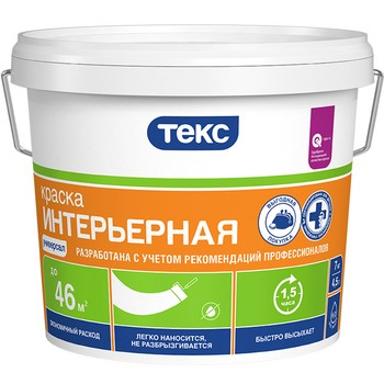 Краска интерьерная TEKS Универсал, белая, 25кг