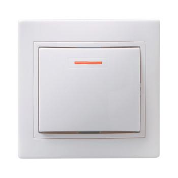 Выключатель одноклавишный с индикатором 10А КВАРТА (белый)