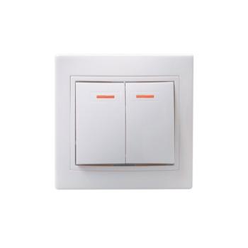 Выключатель двухклавишный с индикатором 10А КВАРТА (белый)