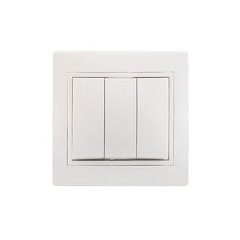 Выключатель трехклавишный 10А КВАРТА (белый)