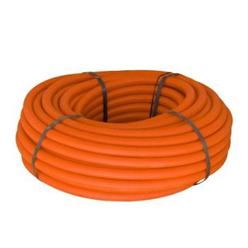 Труба ПНД гофрированная 32мм с зондом оранжевая (бухта 50м)