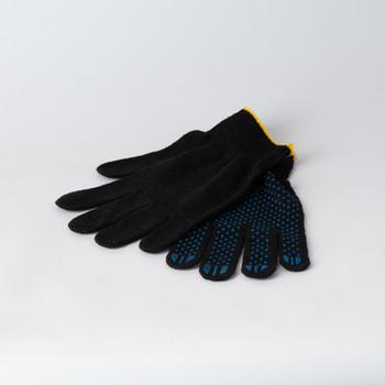 Перчатки х/б с защитой от скольжения 5 нитей, черные 10 класс