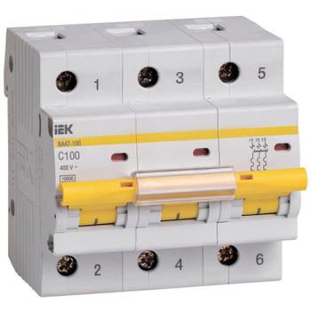 Авт. выключатель IEK 3-полюсной ВА 47-100, 100А (С)