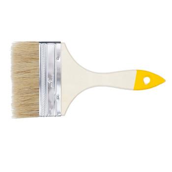 Кисть плоская 100 мм светлая натуральная щетина, деревянная ручка, Хобби, Т4Р