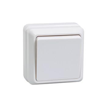 Выключатель одноклавишный 10А открытая установка ОКТАВА (белый)