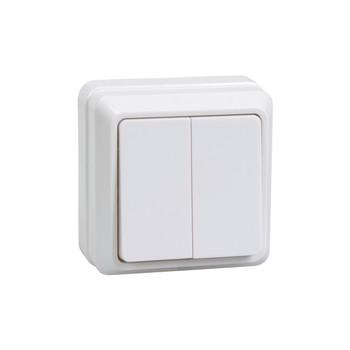 Выключатель двухклавишный 10А открытая установка ОКТАВА (белый)