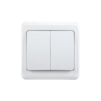 Выключатель двухклавишный 10А ВЕГА (белый) IEK